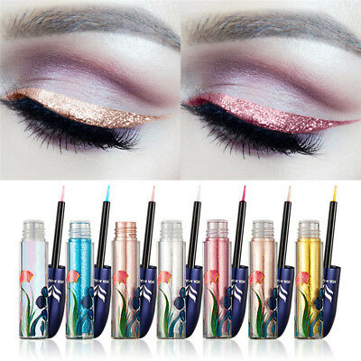7 Color Waterproof Shimmer Eyeshadow Glitter Liquid Eyeliner Metallic Cosmetic
