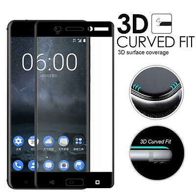 For Nokia 6 / 5 /3 Black 3D Full Cover Coverd Tempered Glass Screen Protector hi