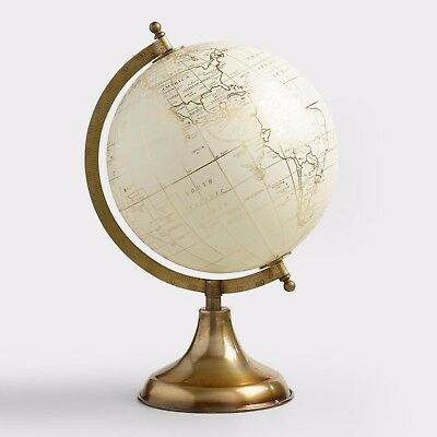 Vintage White Political World Globe Map Desktop Stand Office School Swivel Decor
