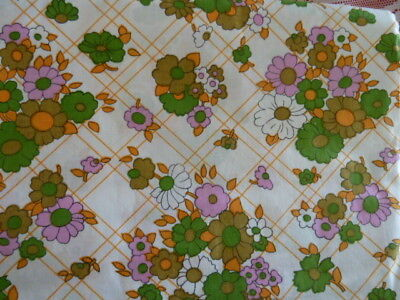 NEW Vintage Retro 60s 70s Cotton Single bed sheet FLOWERS Art craft fabric 1