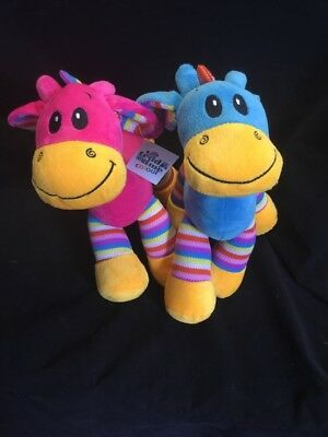 NEW 30cm Soft Rainbow Giraffe Brights Stripe Toy Pink Blue Baby Gift Plush