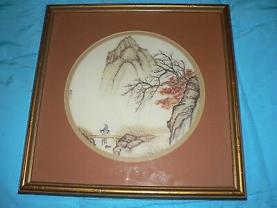 Vintage Japanese Asian Print Etching Mountain Bridge over River Signed