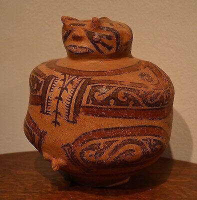 Rare Authentic Pre Columbian Cocle Effigy Pottery Vessel Hunchback Panama