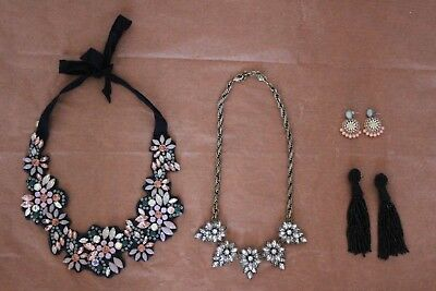 J.Crew Lot Anthropologie Fabric Backed Necklace Statement Tassel Earrings Stones