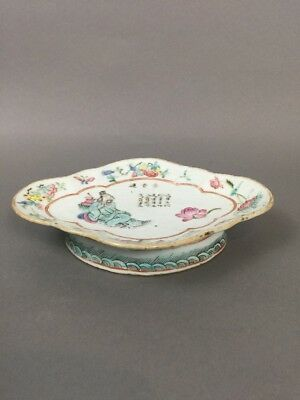 19th c Antique Chinese Famille Rose Porcelain Tray / Plate