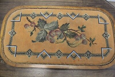 Victorian Bead Beadwork Trivet Antique Art Hotplate Tea Service Tray