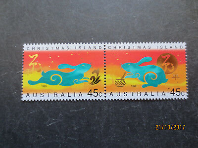 No--1--1999  Christmas  Island Year  Of  Rabbit  2   Stamps  ---Mnh