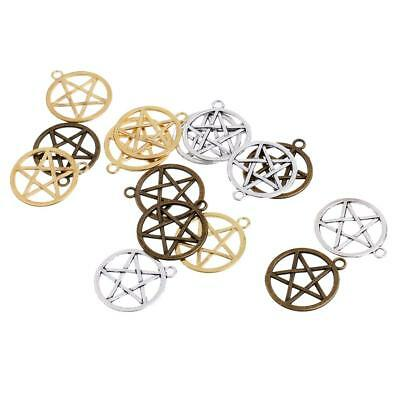 15Pcs Vintage Pentagram in Circle Pendants Charms DIY Jewelry Finding Craft