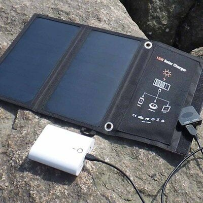 Outdoor Solar Panel Folding Portable Power Charger Dual USB Phone Charger 15W