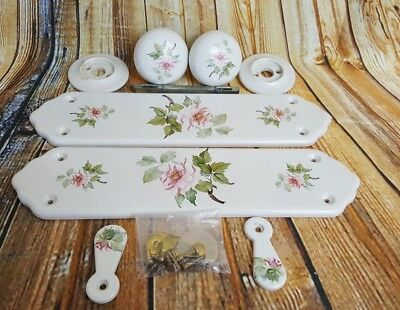 Vintage China Door Plates, Knobs & Keyhole Covers - VGC