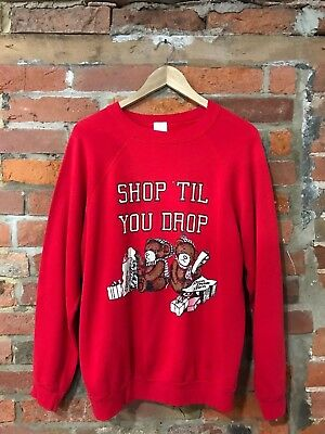 VINTAGE 80s SWEATSHIRT RED TEDDY BEARS SHOPPING JCPENNEYS (VS18) OVERSIZED SZ L