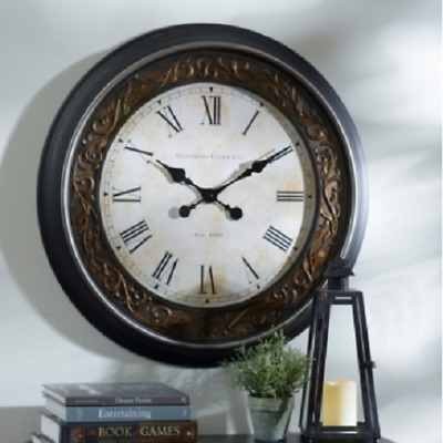 Roman Numeral Large Wall Clock in Vintage Antique Black Bronze Floral Home Decor
