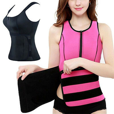 Sweat Body Shaper Women Zipper Slim Vest Thermo Neoprene Waist Trainer US STOCK