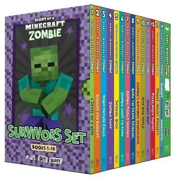 2019 Diary of a Minecraft Zombie: Survivors Books 1-14 + DIY Diary Box Set Kids