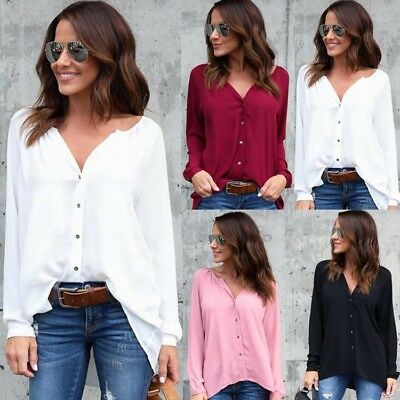 Womens Plus Size Long Sleeve Casual Blouse Ladies OL Work T Shirt Tops Size 6-22