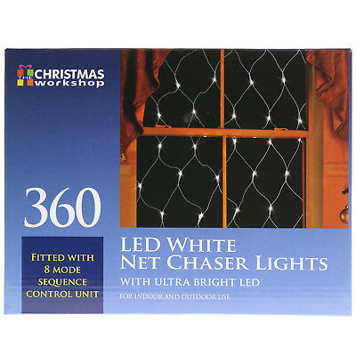 360 Ultra Bright LED White Indoor Outdoor Net Chaser Christmas Lights Ornament