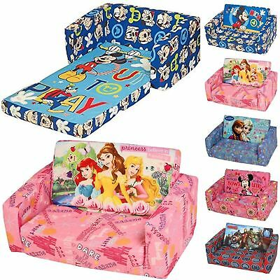 Disney Childrens Flip Out Double Foam Sofa Settee Kids Couch Lounger Bed Seat