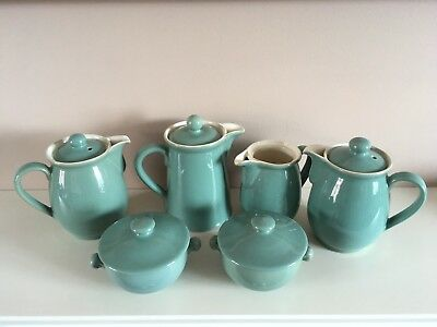 Job lot Of Vintage Denby Stoneware Manor Green Coffee Pots