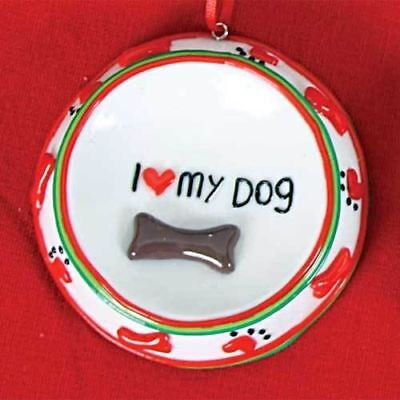 I Love My Dog Ceramic Christmas Ornament 81598LUV
