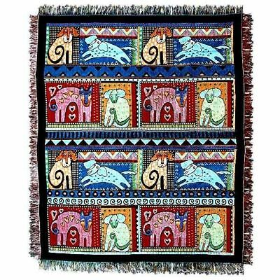 """Laurel Burch Tapestry Throw Blanket """"Mythical Dogs"""" 50""""x60"""" Fringed Edges"""