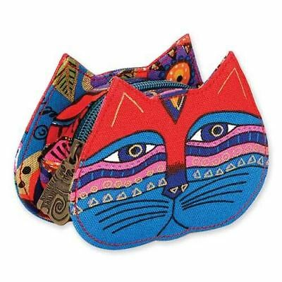 Laurel Burch Cat Face Dimensional Canvas Small Zip Coin Purse Pouch Red