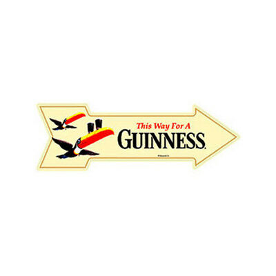 This Way for a Guinness Metal Arrow Sign Flying Toucans Beer Bar Wall Art 27 x 9