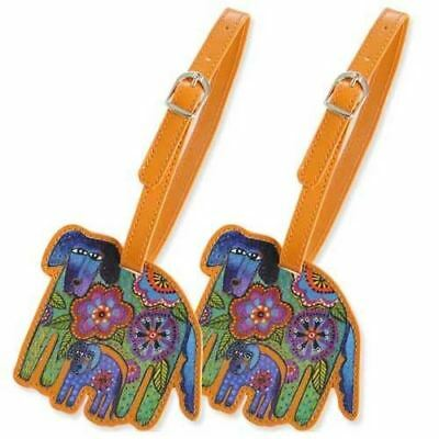 Laurel Burch Luggage Tags Set of 2 - Azul and Azulita Dog