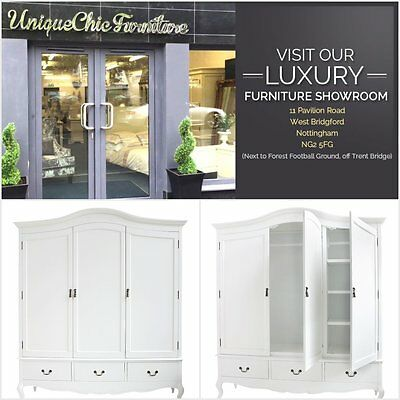 French Style White Painted Shabby Chic Triple Wardrobe Bedroom Furniture