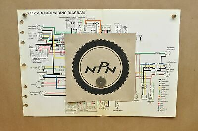 vtg 1982 yamaha xt125 j xt200 j factory color schematic wire wiring diagram