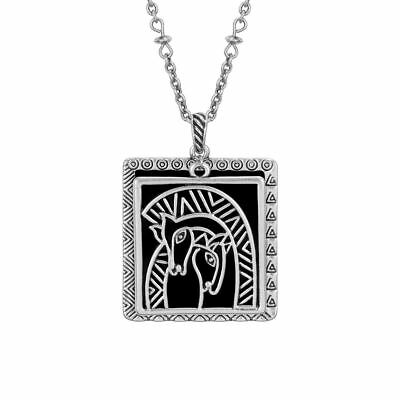 "Embracing Horses Silver Laurel Burch Necklace Black 19.5"" Chain"