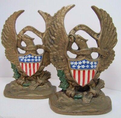 Old Cast Iron Figural Eagle Bookends E PLURIBUS UNUM ornate pair old book ends