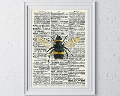 Bumble Bee Print Vintage Dictionary Page Wall Art Picture Mothers Day Mum Gift