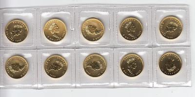 "Lot of 10 1999 Canada $5 1/10 Troy Oz .9999 Gold Maple Leaf Coin ""20 Years ANS"""
