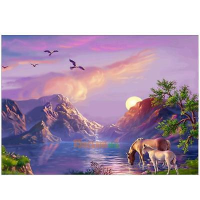 5D DIY Sunset Dolphins Diamond Painting Embroidery Cross Stitch Kit Home Decor