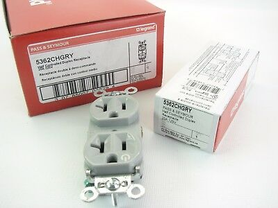 Box Of 10 Pass & Seymour 5362CHGRY Gray Half Controlled Duplex Receptacle 20 Amp
