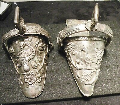 Antique 800 Coin Silver Argentine Side Saddle Stirrups.  (2) Pair Circa: 1876.