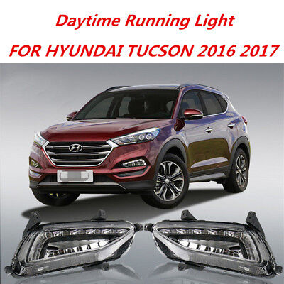 LED Daytime Running Lights DRL Fog Lamp Cover fit for 2016-2017 HYUNDAI Tucson