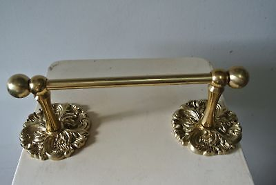 Vintage Solid Brass Ornate Toilet Paper Holder / Small Towel Bar Fixture antique