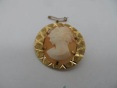 Vintage gold plated & cameo brooch c-1960's   No Reserve