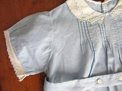 Vintage 1930's-1940's Baby Toddler 1 Piece Romper Blue with Embroidery & Tucks