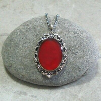 Ruby Red Handpainted Cameo Pendant Necklace Jewelry Antique Silver