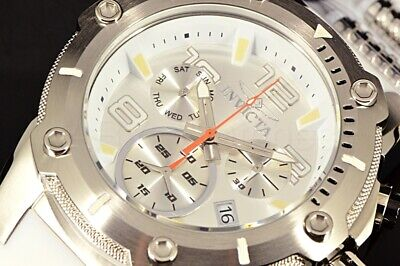Invicta Speedway Viper ALL SILVER Swiss Ronda Z60 Chrono Dial White Strap Watch