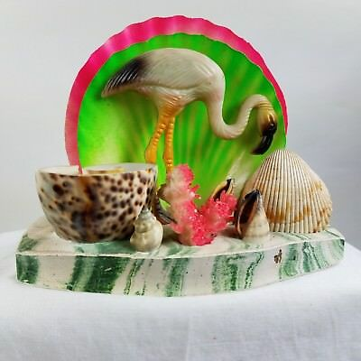 Retro Unusual Flamingo With Sea Shells Napkin Mail Holder Hot Pink And Green