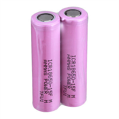 USA 2 PCS Branded ICR 18650 1500mAH Li-ion Rechargeable Flat Top Battery