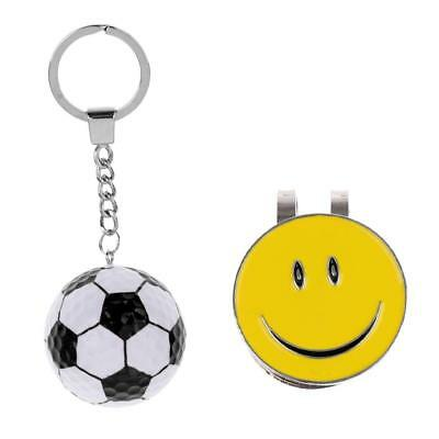Smile Face Magnetic Hat Clip Golf Ball Marker with Soccer Keychain Keyring