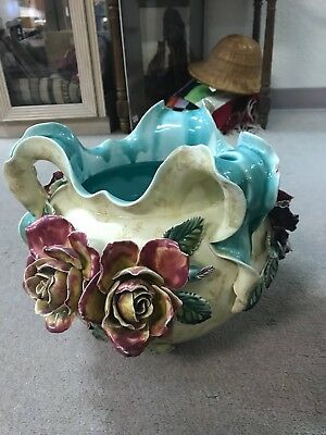 STUNNING ANTIQUE FRENCH ONNAING Dated Majolica Flowers On Pot Large