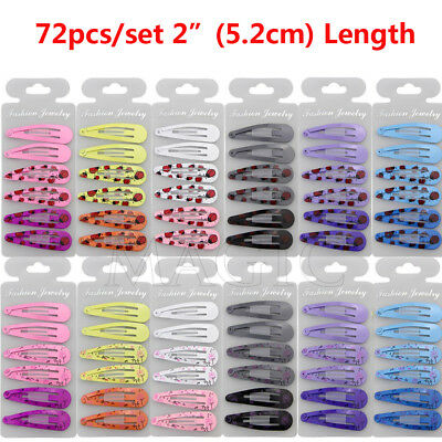 "72pcs/lot 2"" Boutique Girl Baby Kids Hair Clips Snap Hairpin Grip 12 Candy Color"