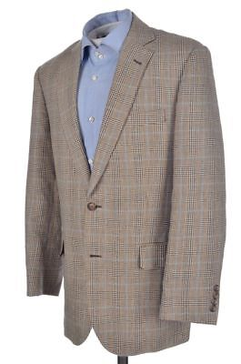 BROOKS BROTHERS Madison Beige Brown Plaid Check LINEN Blazer Sport Coat - 40 R