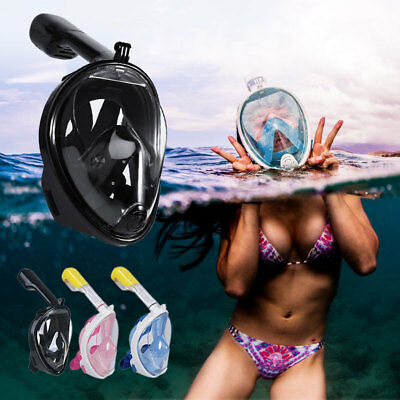 Snorkel Full Face Diving Seaview Snorkeling Mask w/ Breather Pipe For GoPro AU