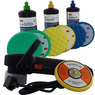 Deltalyo 500w Electric Orbital Polisher + 3M 3Step Car Paint Colour Restorer Kit